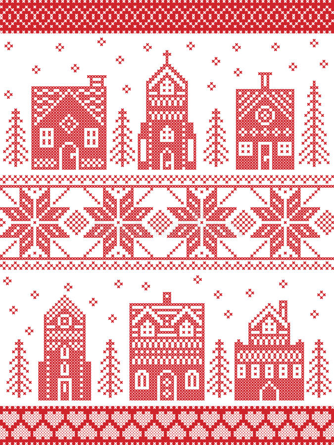 Christmas and festive winter village pattern in cross stitch style with gingerbread house, church, little town buildings, trees stock illustration