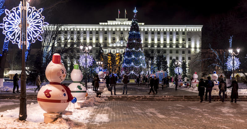 Christmas festivities in the regional administration building on. ROSTOV-ON-DON, RUSSIA- JANUARY 01-Christmas festivities in the regional administration building stock image