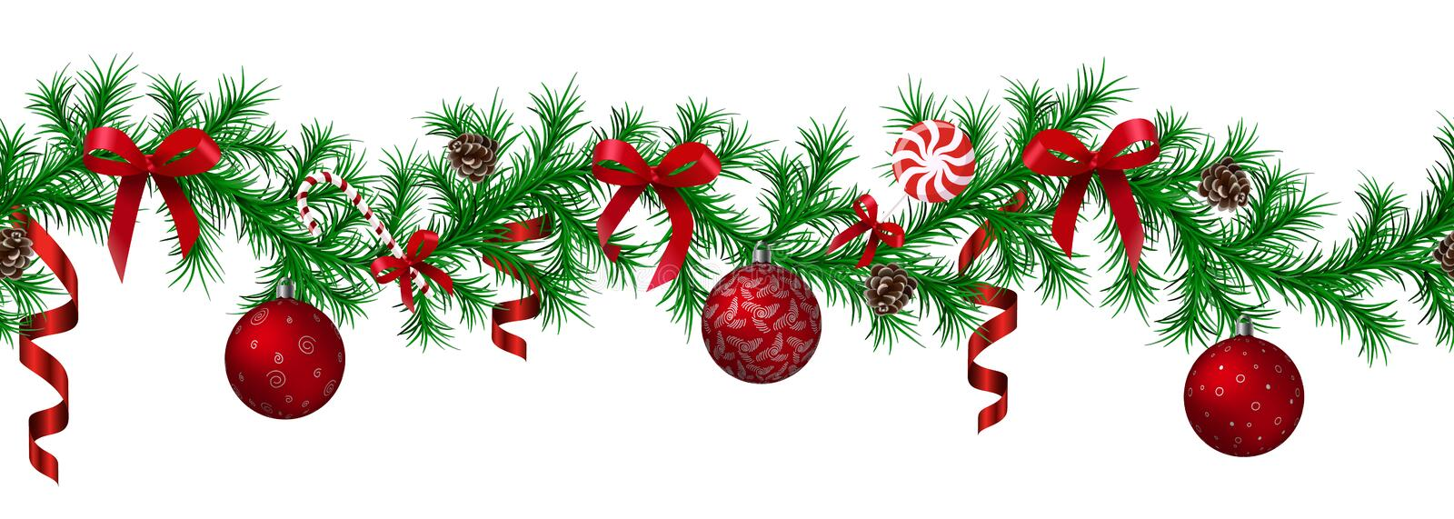 Christmas fir border with hanging garland, fir branches, red and silver baubles, pine cones and other ornaments stock illustration