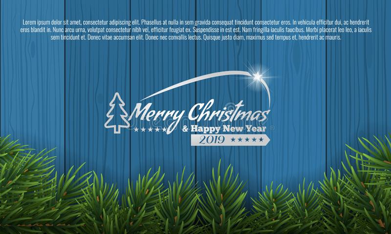 Christmas with fir branch border frame on bottom of blue wooden background. Vector illustration for greeting card. Christmas with fir branch border frame on stock illustration