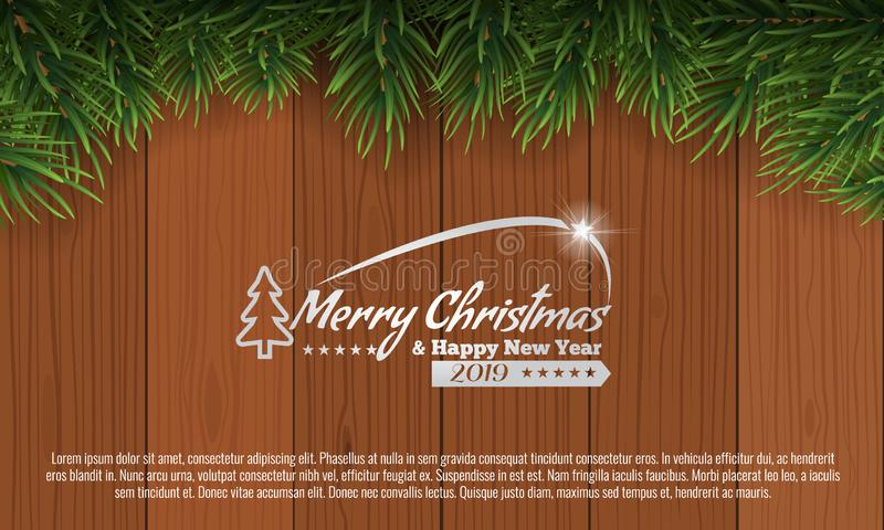 Christmas with fir branch border frame on top of brown wooden background. Vector illustration for greeting card. Christmas with fir branch border frame on top vector illustration