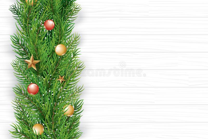 Christmas with fir branch on white wooden background. Vector ill. Ustration top view and copy space for text. Use for greeting card, banner, web cover royalty free illustration