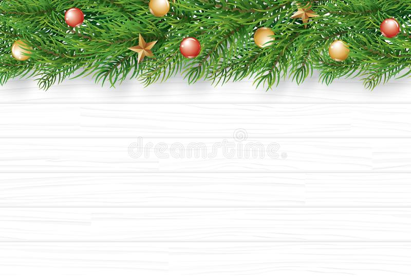 Christmas with fir branch on white wooden background. Vector ill. Ustration top view and copy space for text. Use for greeting card, banner, web cover stock illustration
