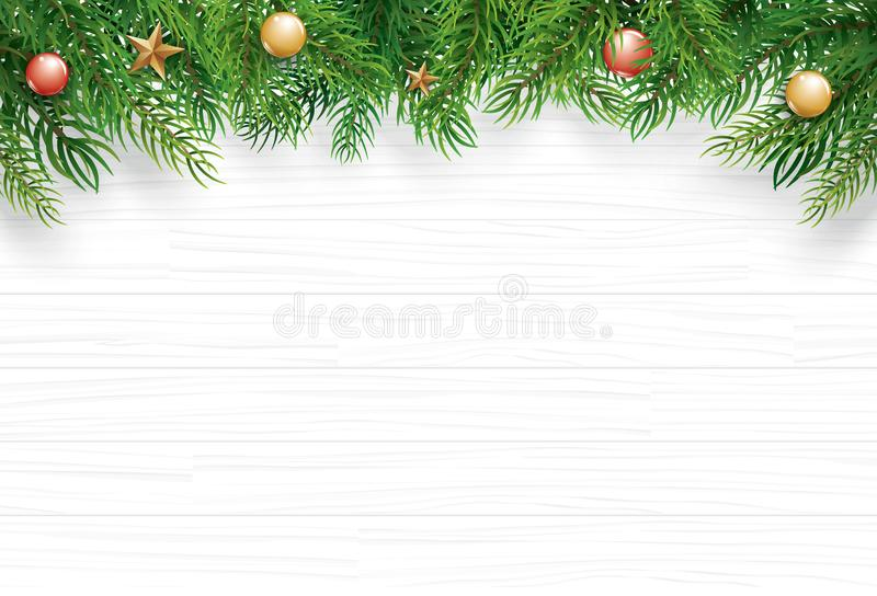 Christmas with fir branch on white wooden background. Vector illustration top view and copy space for text. Use for greeting card. Banner, web cover vector illustration