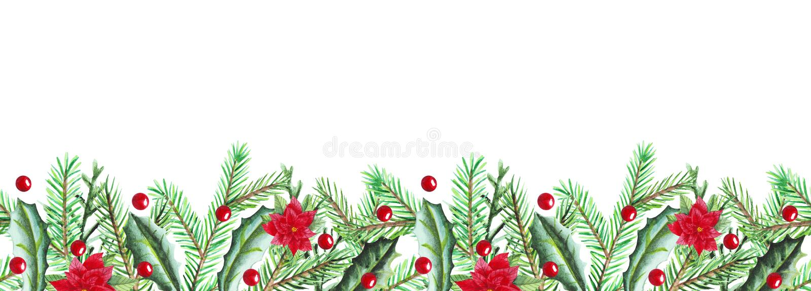 Christmas fir branches, holly, poinsettia border in watercolor. Bright frame for postcard, web design or post in social networks. stock illustration