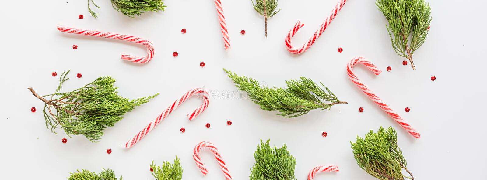 Christmas fir branches and lollipop canes on white. new year concept. Horizontal banner for web design. Greeting card, xmas royalty free stock image