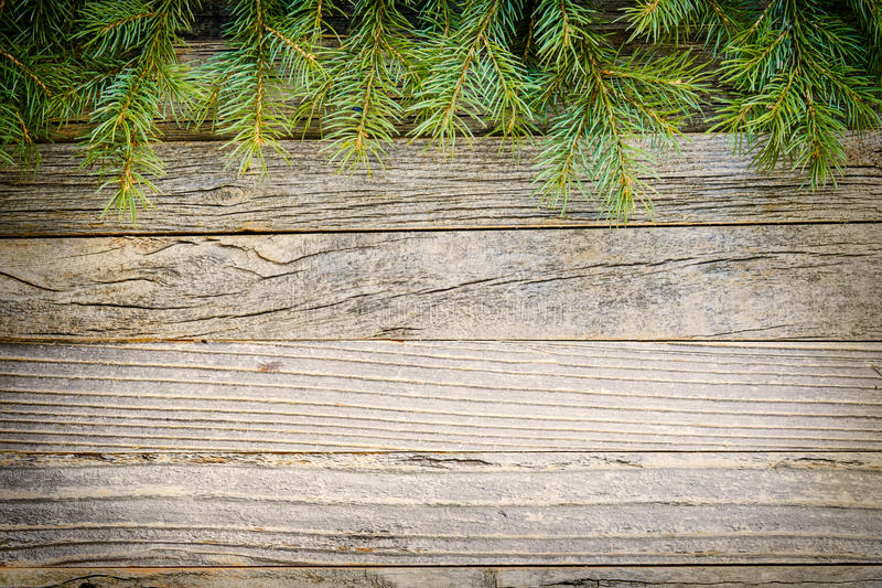 Christmas Fir Branches at Top of Wooden Board stock images