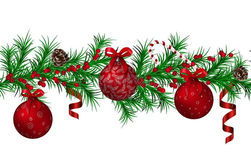 Christmas fir garland seamless pattern, red metallic shiny christmas balls and ribbons, cones, candy cane, red berries. Place for text. For Web decoration vector illustration
