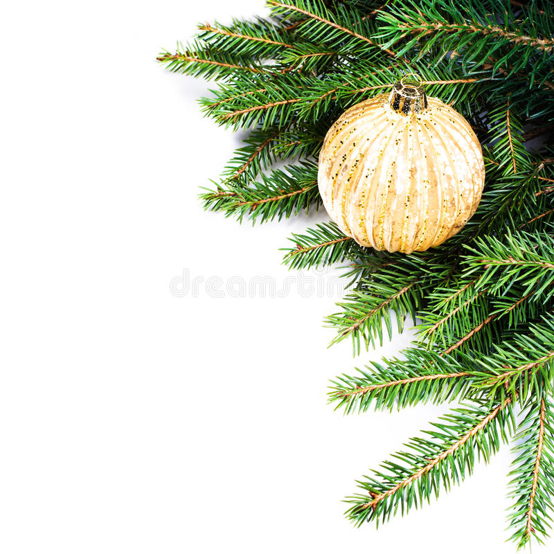 Download Christmas Fir Tree Border With Christmas Decoration Isolated On Stock Photo - Image: 35409112