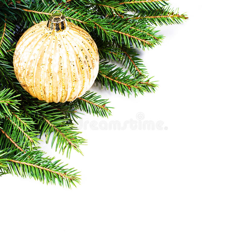 Christmas Fir Tree Border with festive ornaments isolated on wh stock photography