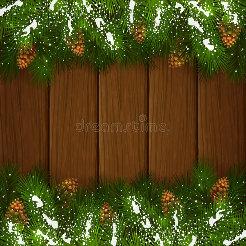 Christmas fir tree branches with pinecone on wooden background. Winter decorations, Christmas theme with pinecone, decorative spruce branches with pine cones and stock illustration