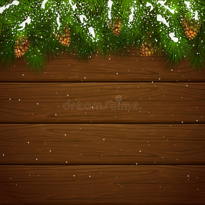 Christmas fir tree branches with snow and cones on wooden background. Christmas theme, decorative spruce branches with pine cones and snow on a wooden background royalty free illustration