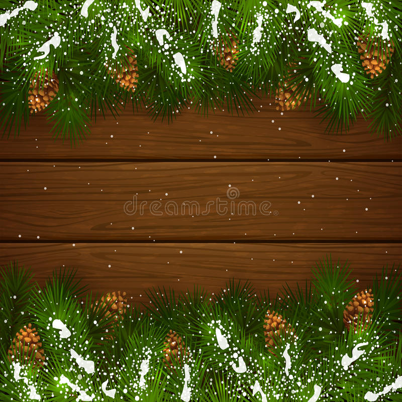 Christmas fir tree branches with snow on wooden background. Christmas theme with holiday decorations, decorative spruce branches with pine cones and snow on a vector illustration