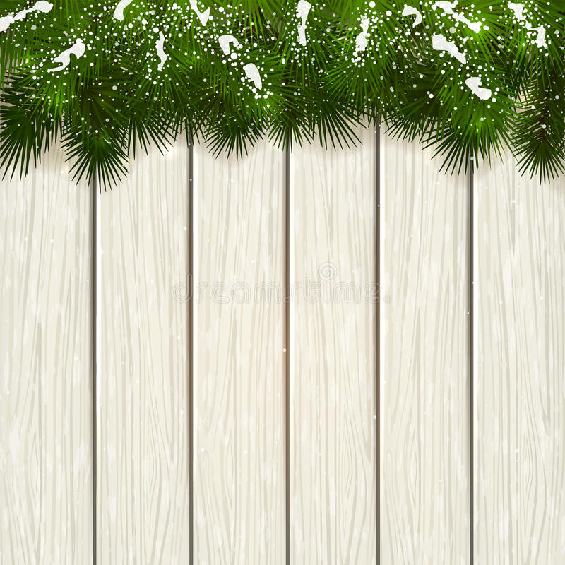 Christmas fir tree branches on white wooden background. Christmas theme, decorative spruce branches and snow on a white wooden background, illustration stock illustration