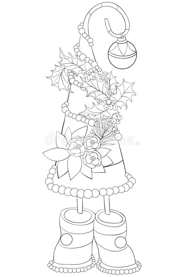 A coloring page,book for adults and children,a cute Christmas fir tree for print. A Christmas fir tree with decoration balls with leaves and flowers for stock illustration