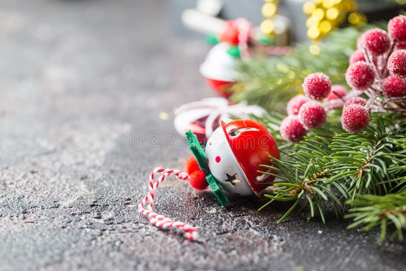 Christmas fir tree with decoration. On dark shiny background stock photos