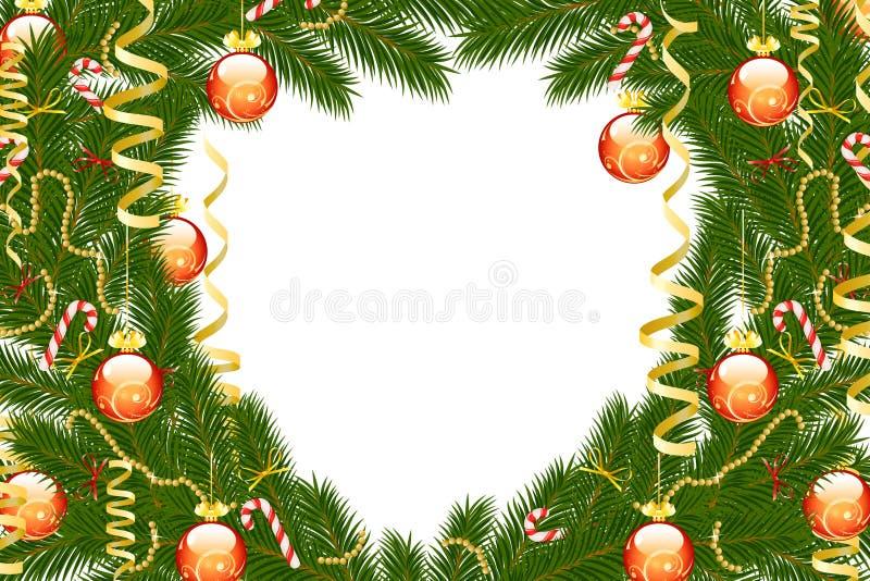 Christmas Fir Tree Frame Stock Image