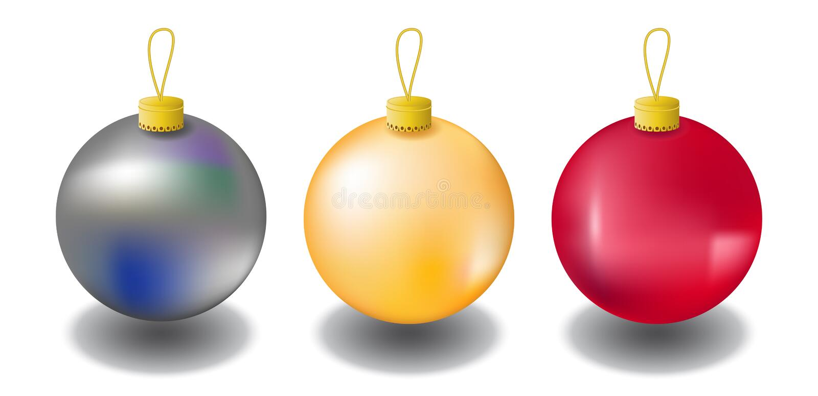 Christmas fir tree ornament isolated on white. Christmas tree balls in red, gold and silver colors. Realistic fir tree ornaments with shadow. Vector clipart stock illustration