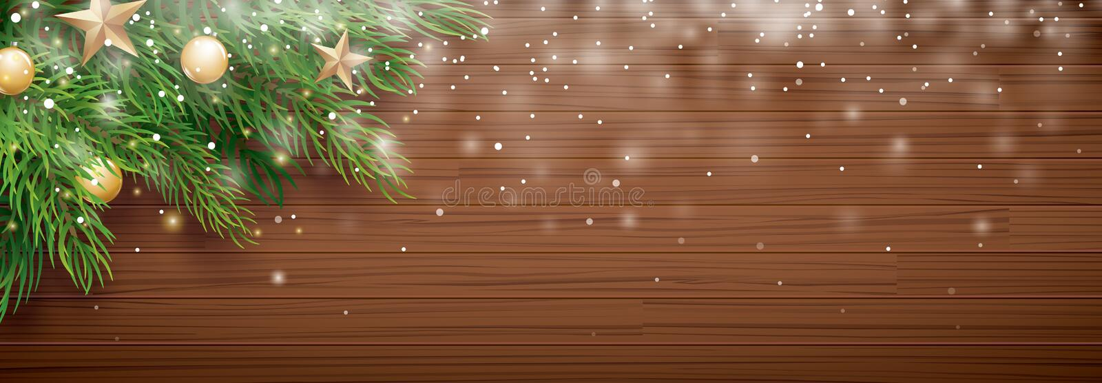 Christmas fir tree with snow on wooden background with copy space for text. Vector illustration for banner, cover, greeting card. vector illustration