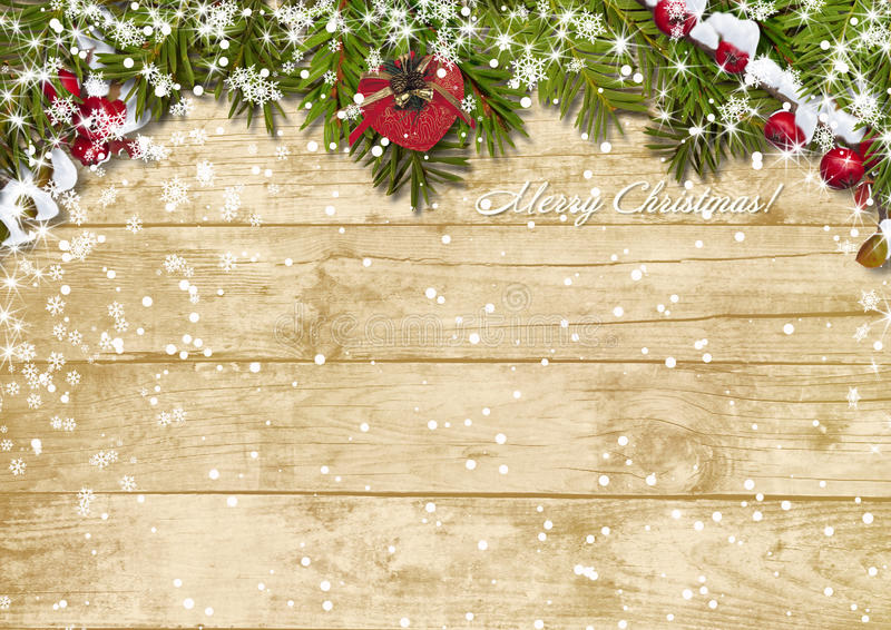 Christmas fir tree with snowfall on a wooden board royalty free illustration