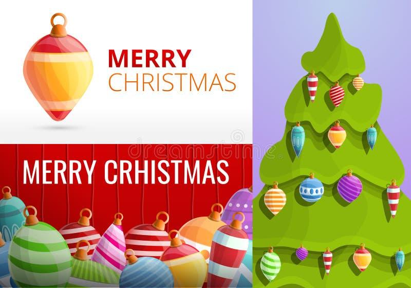 Christmas fir tree toys banner set, cartoon style. Christmas fir tree toys banner set. Cartoon illustration of christmas fir tree toys vector banner set for web royalty free illustration