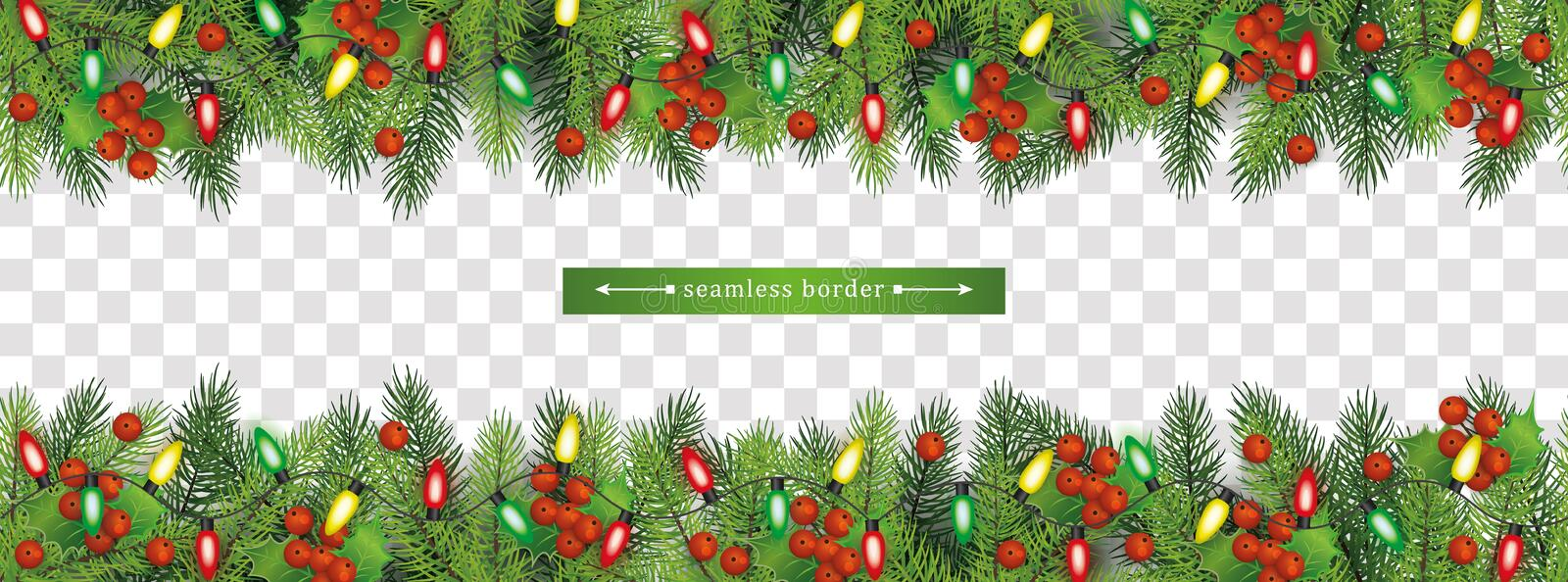 Christmas fir-tree upper and lower seamless border vector illustration isolated. vector illustration