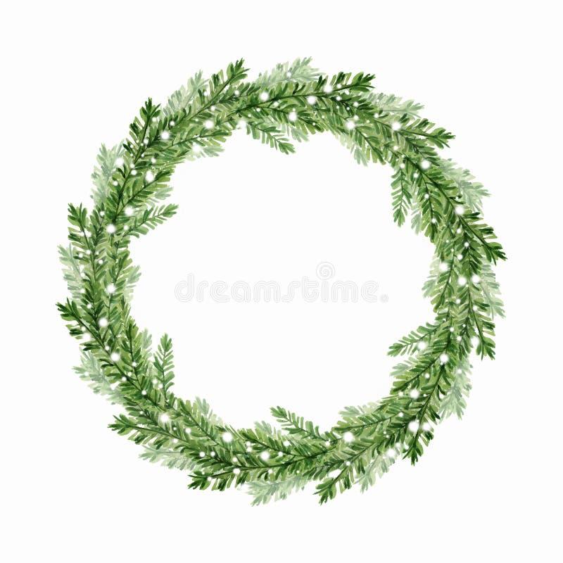 Christmas fir tree wreath 3. Watercolor illustration. Christmas fir tree wreath stock illustration