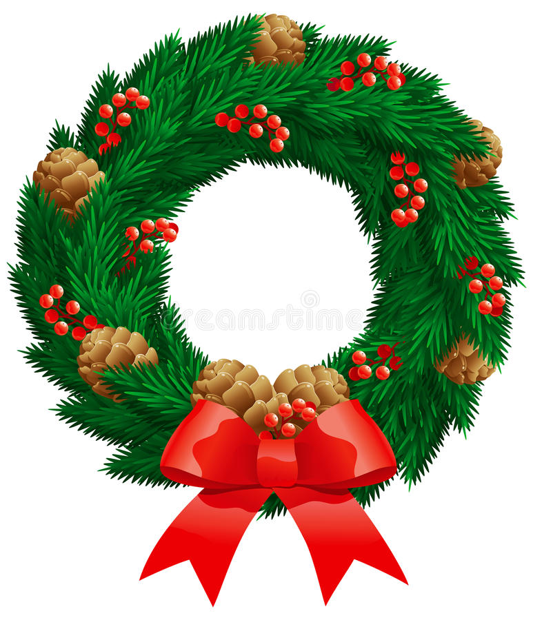 Download Christmas fir wreath stock vector. Image of space, ribbon - 22338794