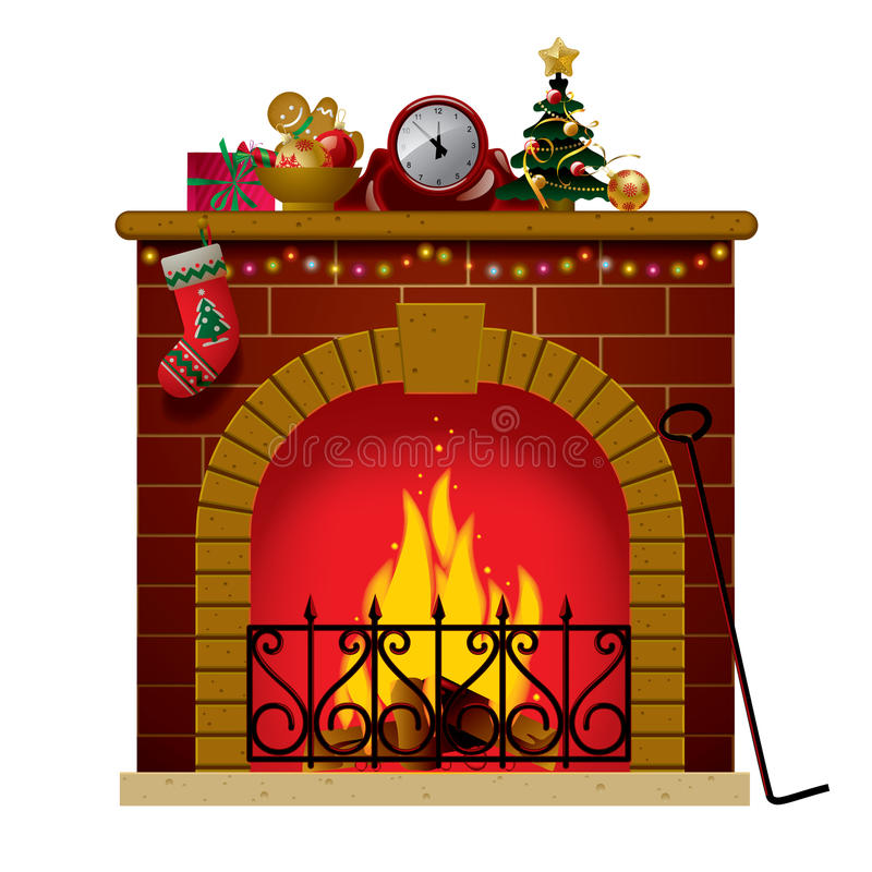 Christmas fireplace stock vector illustration of ornament