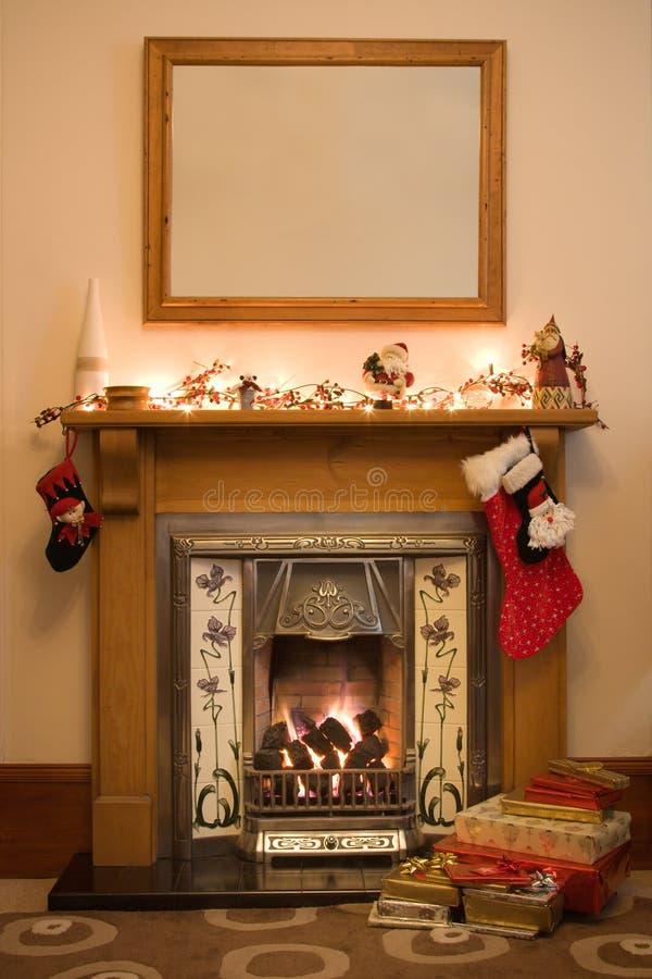 Christmas Fireplace Royalty Free Stock Photos