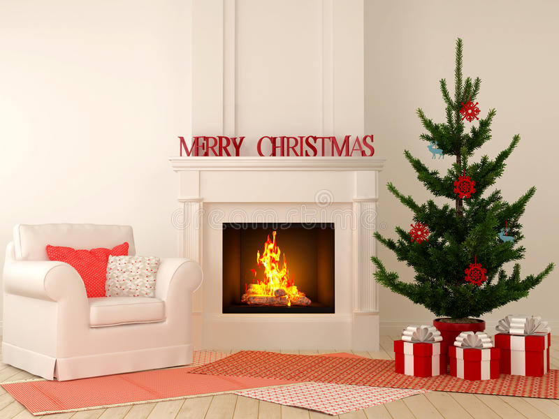 Christmas Fireplace With Chair And Tree Stock Photo