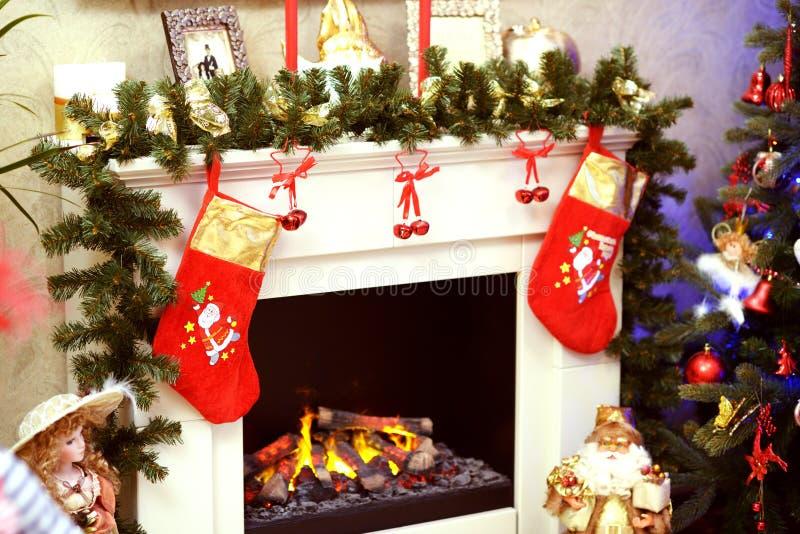 Christmas fireplace decoration royalty free stock image