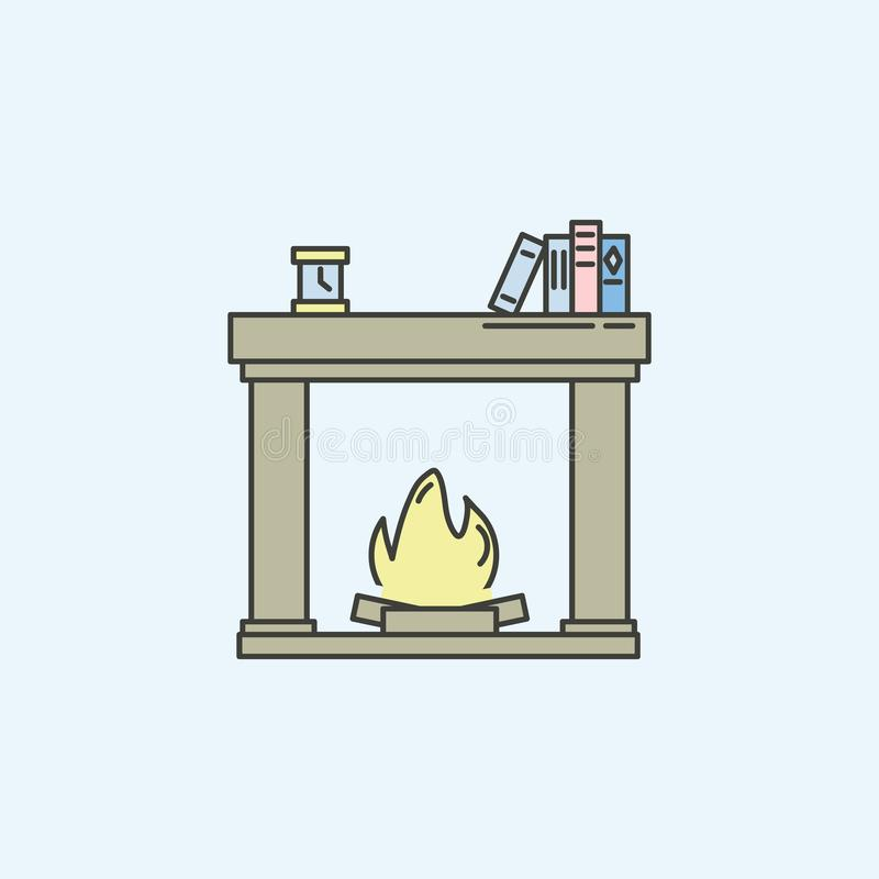 christmas fireplace flat icon. Element of house hold icon for mobile concept and web apps. Colored christmas fireplace flat icon c vector illustration