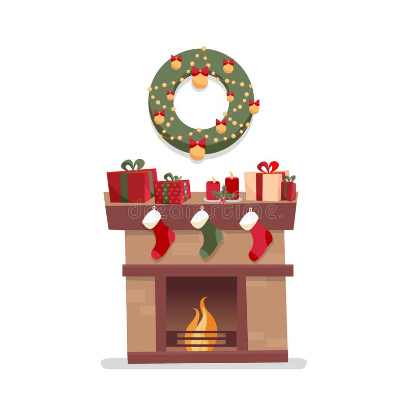 Christmas fireplace with socks, decorations, gift boxes, candeles, socks and wreath on a white background. Cozy flat cartoon style royalty free illustration