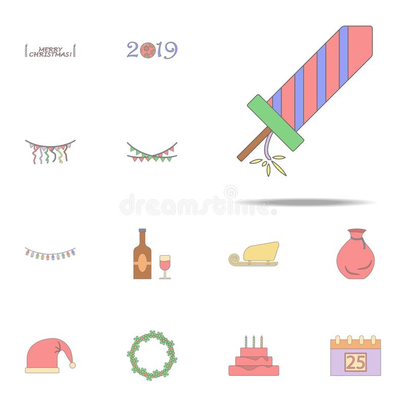 Christmas firework colored icon. Christmas holiday icons universal set for web and mobile royalty free illustration