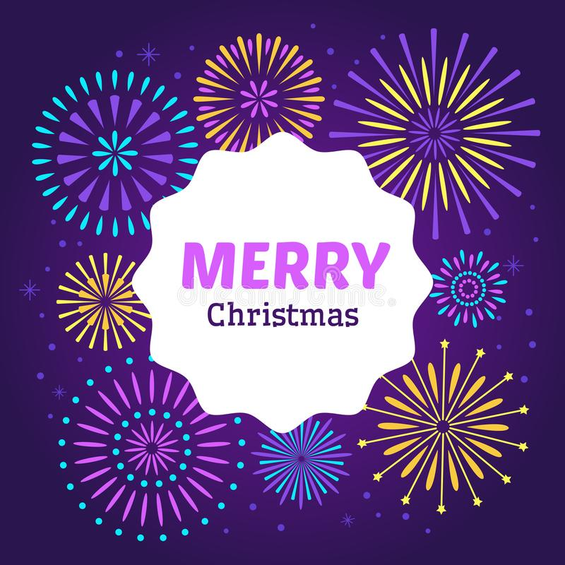 Christmas firework poster. Merry xmas holiday 2019 celebration fireworks. Vector background royalty free illustration