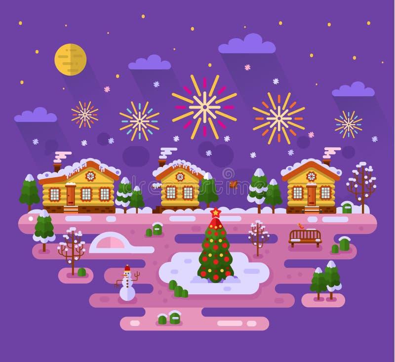 Christmas fireworks vector illustration