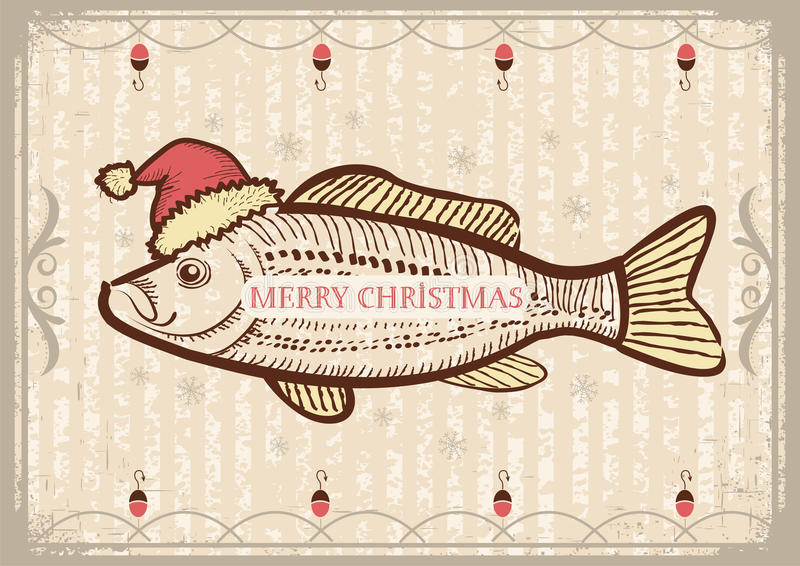 Christmas fish in Santa red hat.Vintage drawing ca royalty free illustration