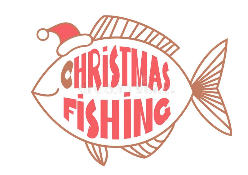 Christmas fishing card background with text and fish in Santa hat. Vintage winter image stock illustration