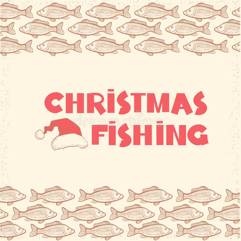 Christmas fishing card background with text and Santa hat. Vintage winter image stock illustration