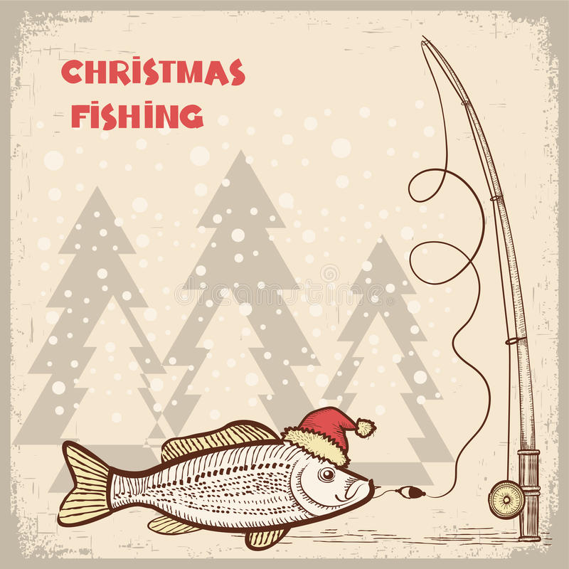 Christmas fishing card with fish in red Santa hat. vector illustration