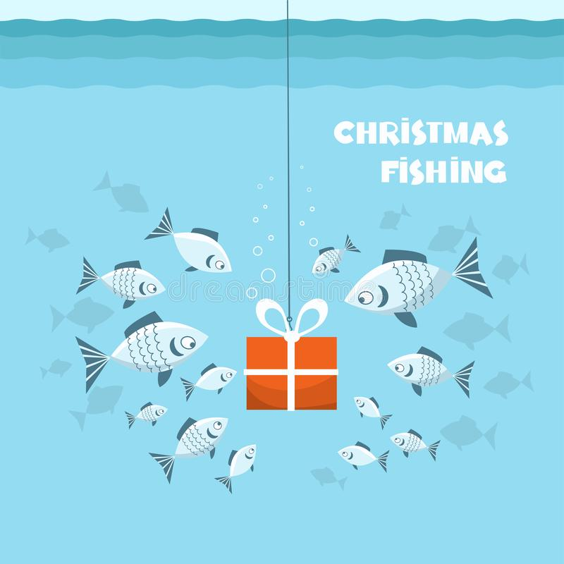 Christmas fishing card. Flock of fish and present gift in sea blue water background. Vector Winter holiday illustration Christmas stock illustration