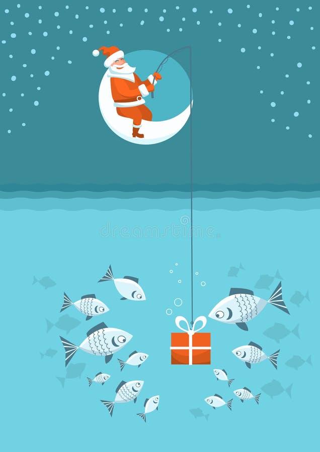 Christmas fishing card. Santa Claus with present box fishing sitting on moon. Vector Winter holiday illustration stock illustration