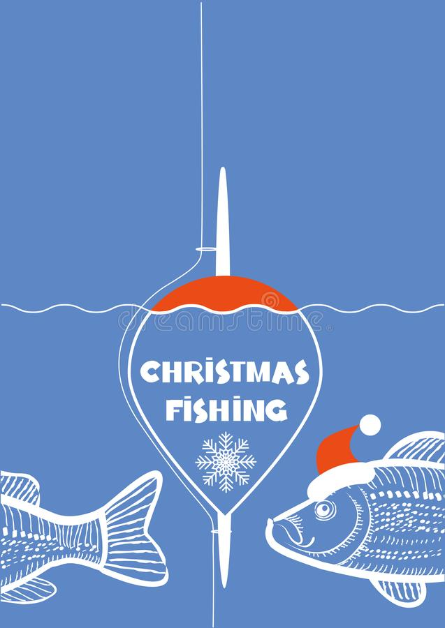 Christmas fishing poster. Vector winter card with fishing tackle and fishes on blue background royalty free illustration