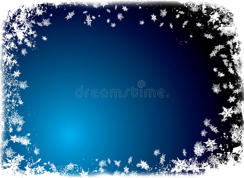 Christmas flake border blue vector illustration