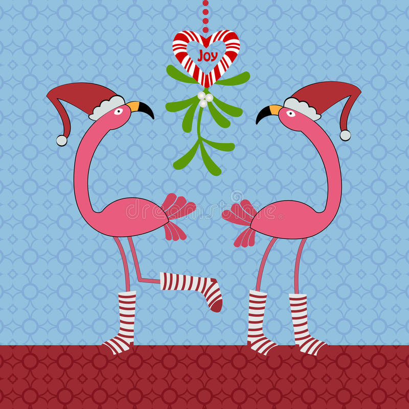 Christmas Flamingos vector illustration