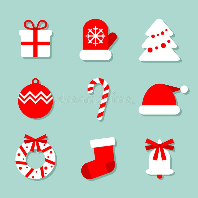 Christmas collection of 9 icons at blue background: mitten, Christmas tree, candy and Santa`s hat. Vector images royalty free illustration