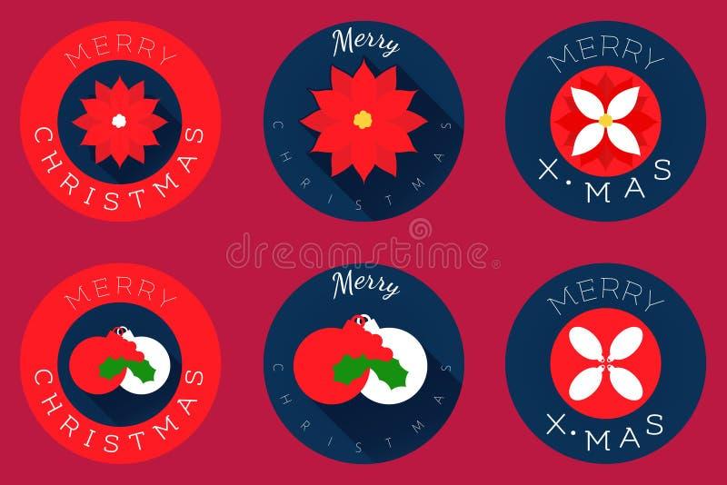 Christmas flat icons design, spheres and poinsettia stock photos
