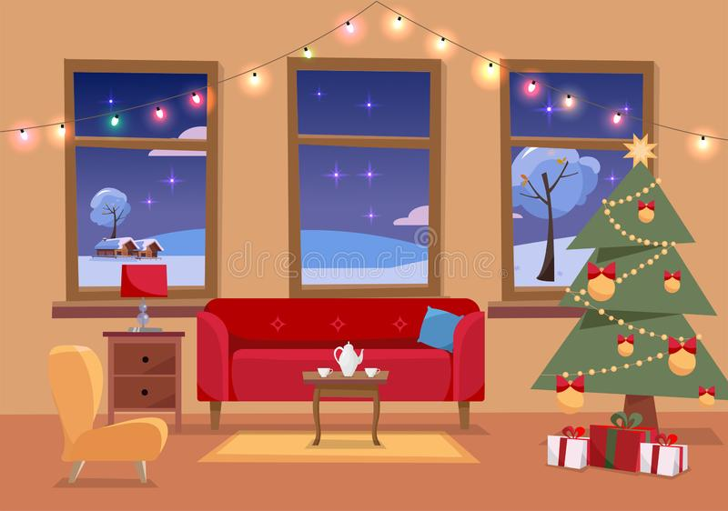 Christmas flat interior illustration of living room decorated for holidays. Cozy home interior with furniture, sofa, armchair, vector illustration