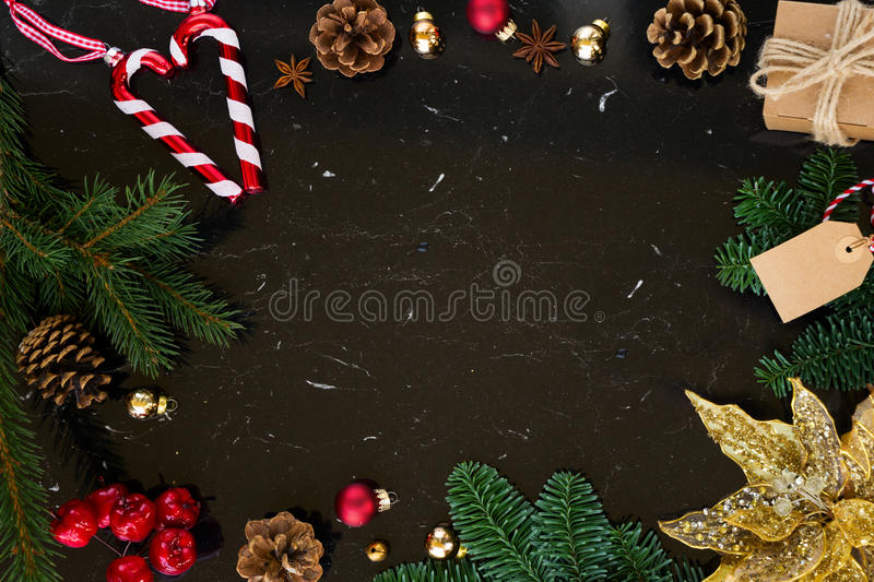 Christmas flat lay styled scene royalty free stock photos